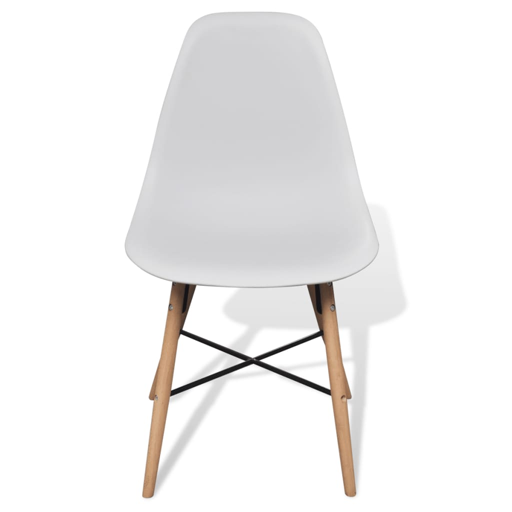 2 White Armless Dining Chair With Hardwood Legs