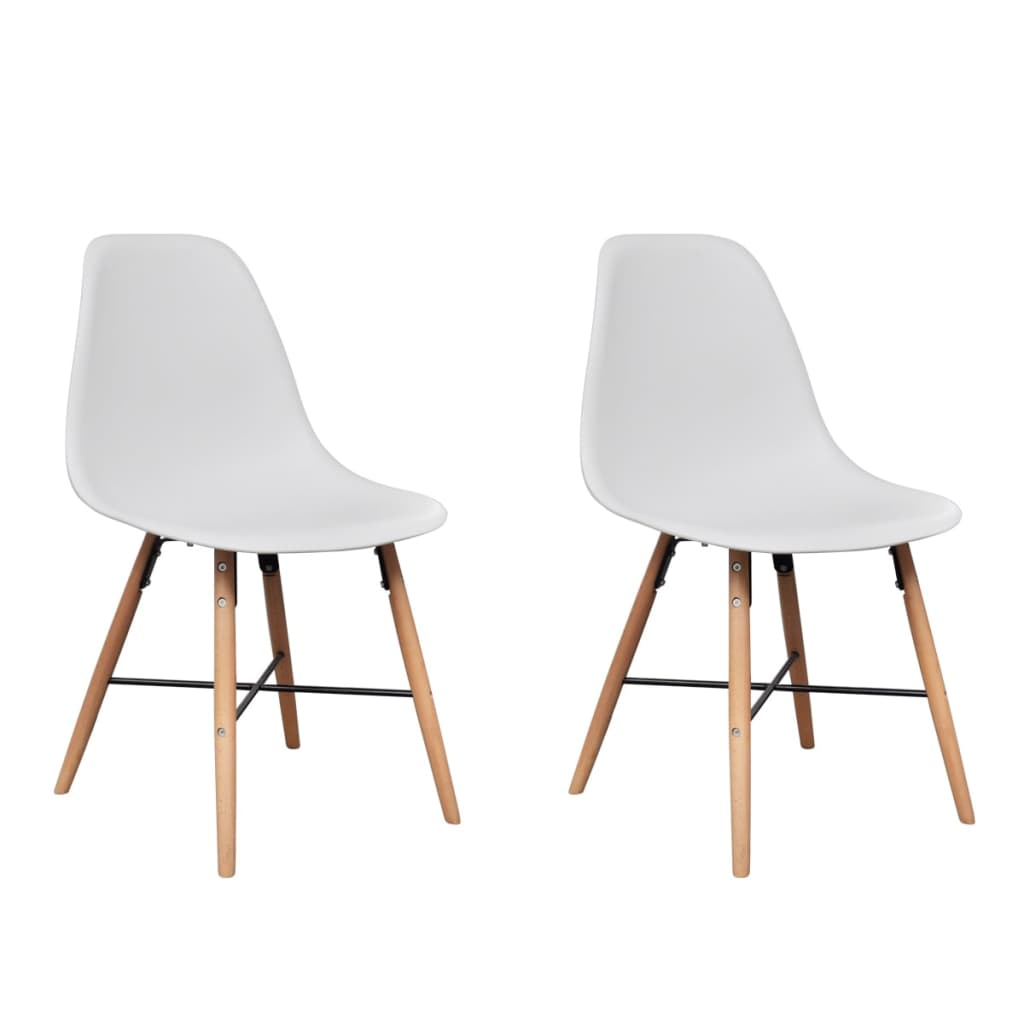 White Armless Dining Chair With Hardwood Legs 2 Pcs