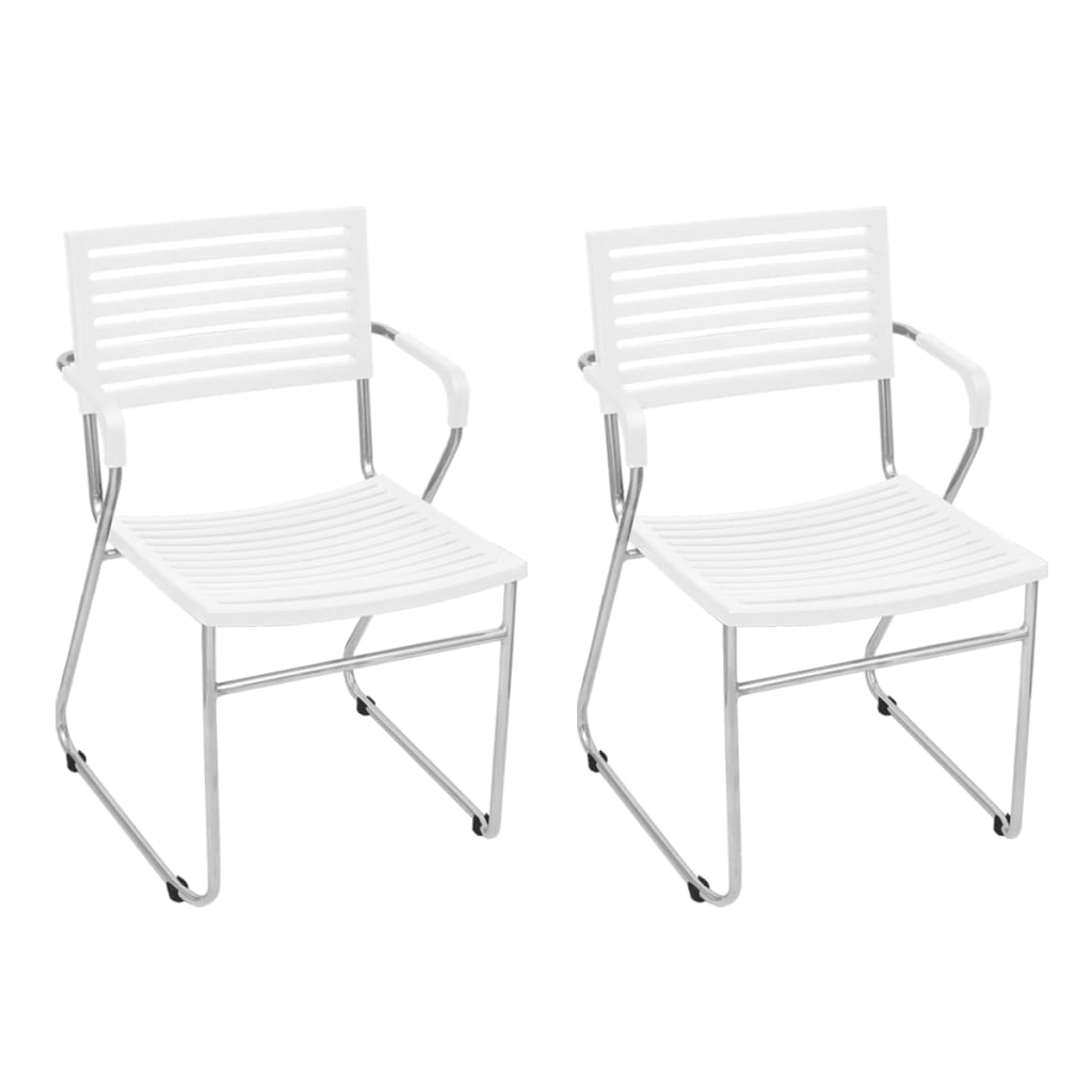 vidaXL Krzesła z żelaza i plastiku, sztaplowane, 2 szt., białe
