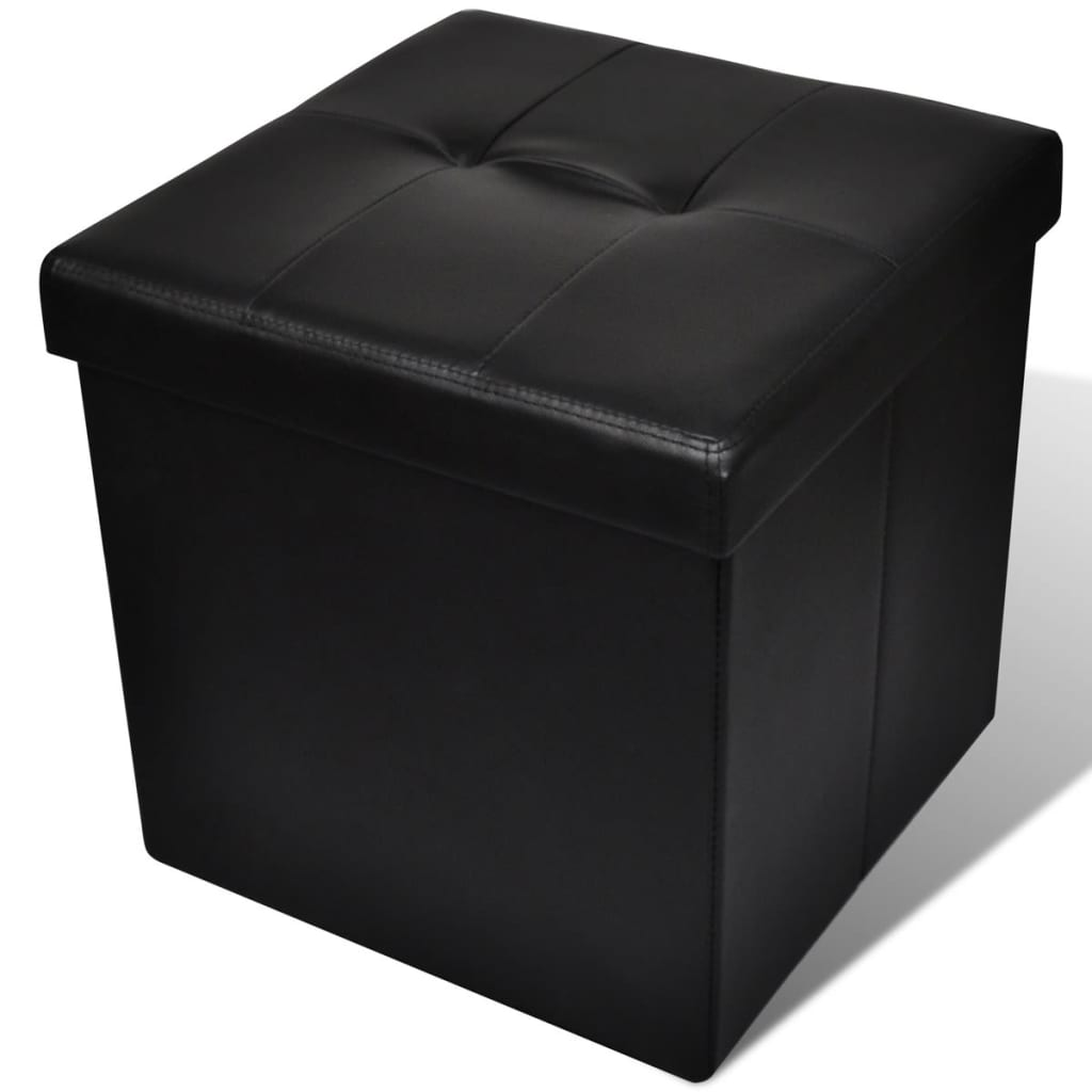 la boutique en ligne pouf de rangement pliant ottoman noir. Black Bedroom Furniture Sets. Home Design Ideas