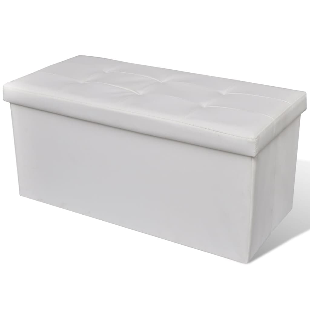 Long Foldable Storage Bench White
