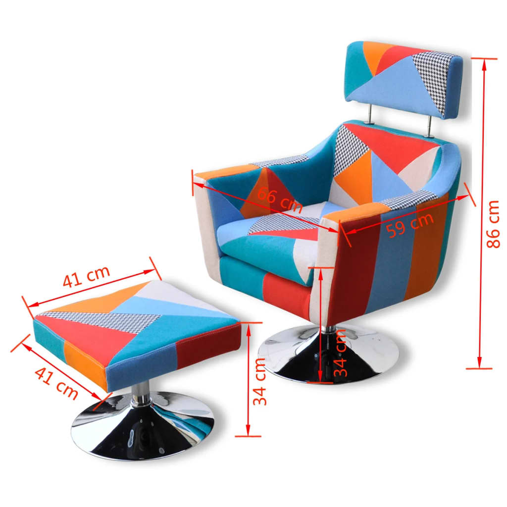 acheter vidaxl fauteuil tv en tissu patchwork pas cher. Black Bedroom Furniture Sets. Home Design Ideas