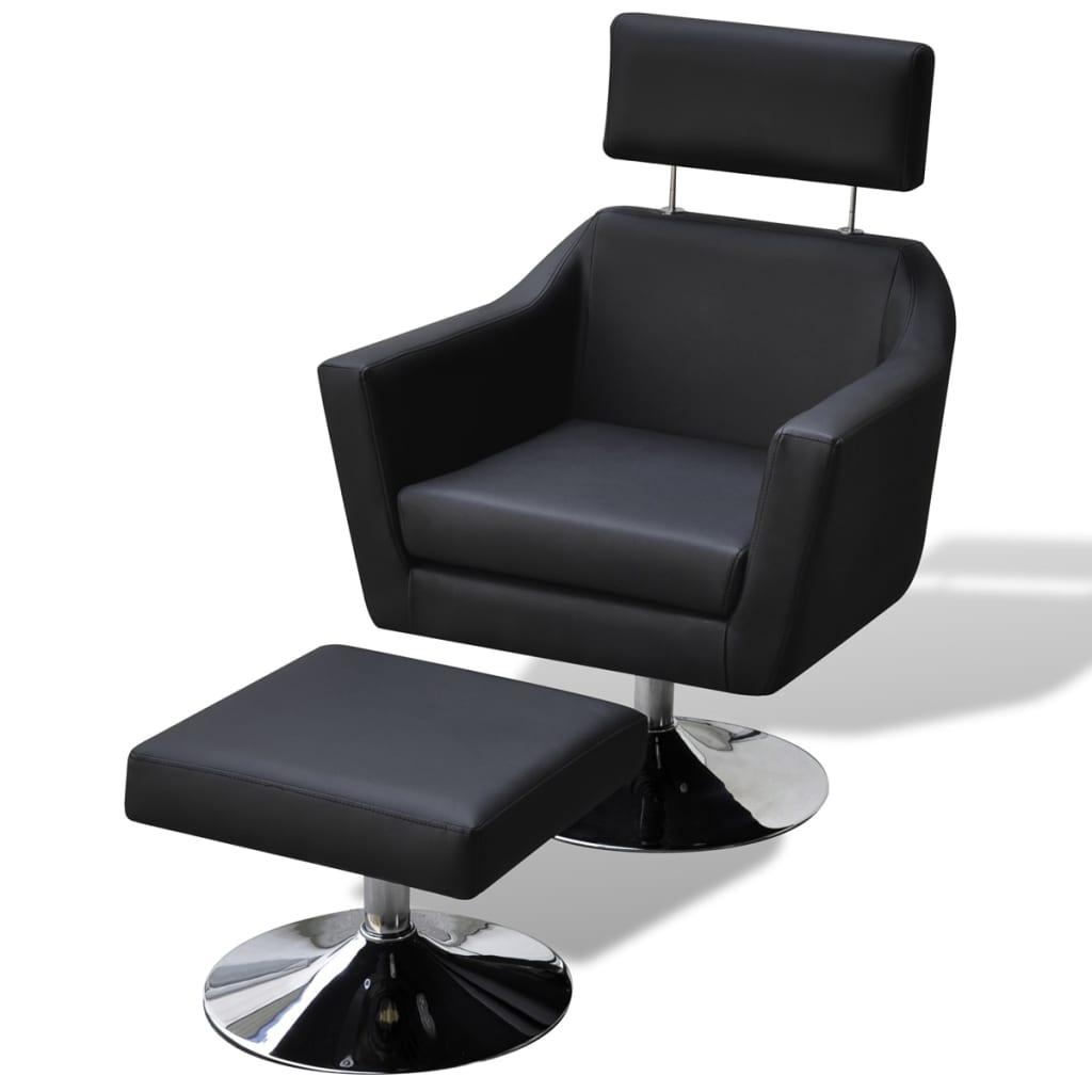 vidaXL fotel do TV ze sztucznej skóry z podnóżkiem, czarny