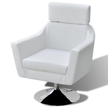 vidaXL mākslīgās ādas TV atpūtas krēsls, balts[4/7]