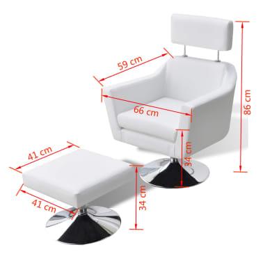 vidaXL mākslīgās ādas TV atpūtas krēsls, balts[7/7]