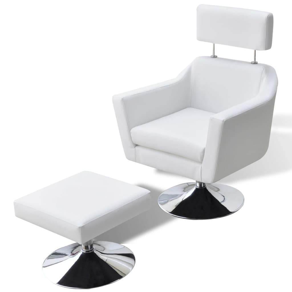 vidaXL Fotel z podnóżkiem imitacji skóry, biały