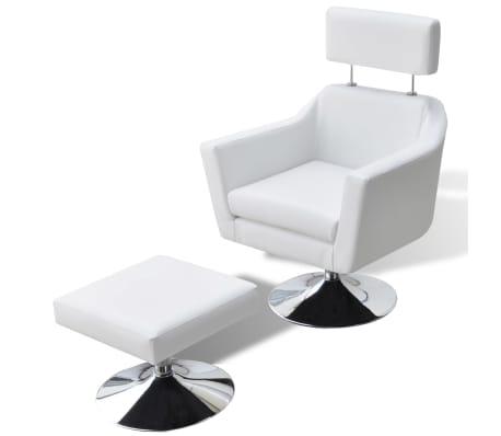 vidaXL mākslīgās ādas TV atpūtas krēsls, balts