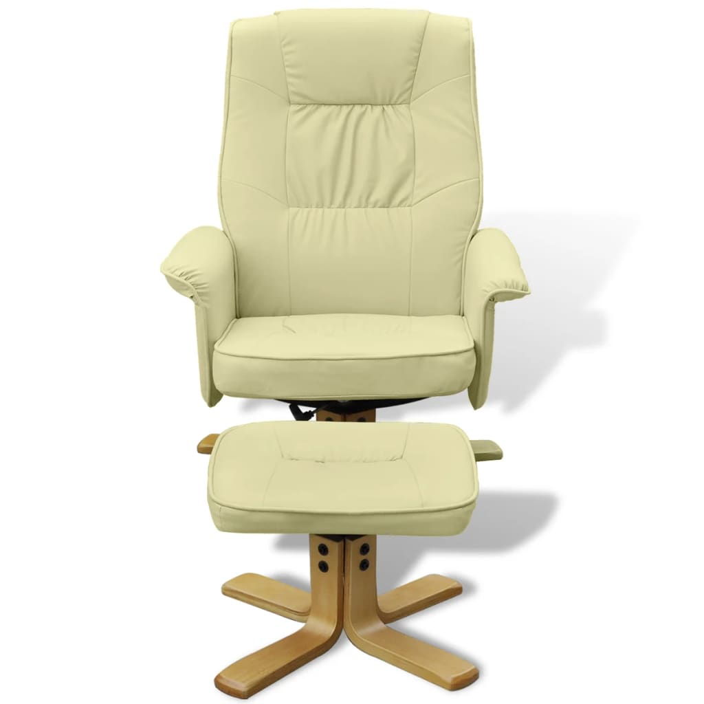 Vidaxl sill n de cuero reclinable con reposapi s blanco for Sillon reclinable blanco