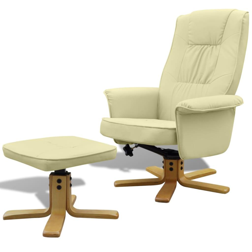 Fauteuil en cuir artificiel avec repose pied blanc cr me - Pied fauteuil de bureau ...