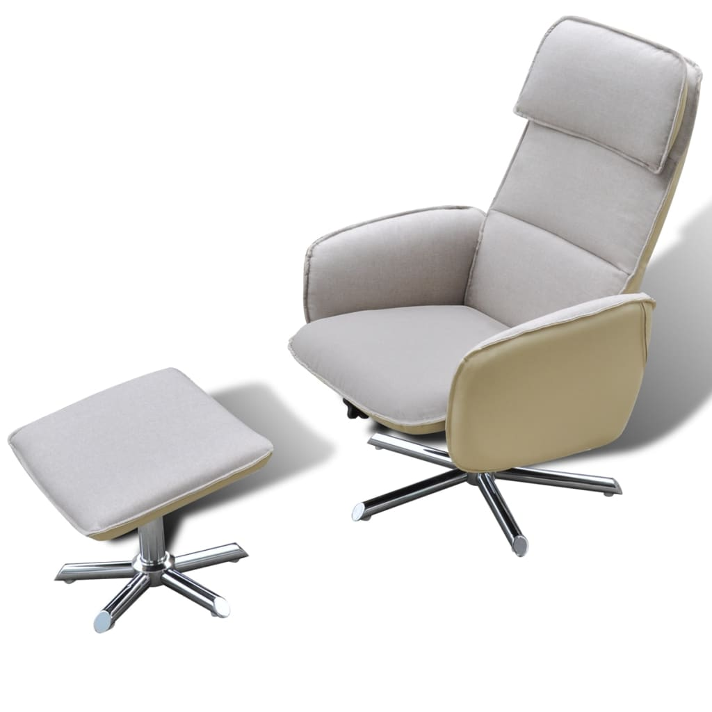 Home tv armchair adjustable recliner with foot stool cream for Cream armchair