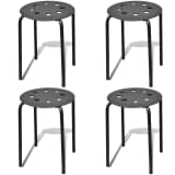 Lot de 4 Tabourets empilables Noir