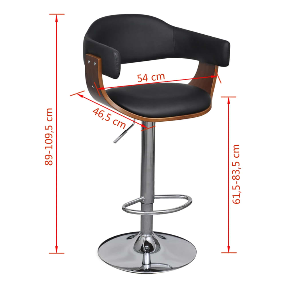 Artificial Leather Bar Stool Height Adjustable Backrest