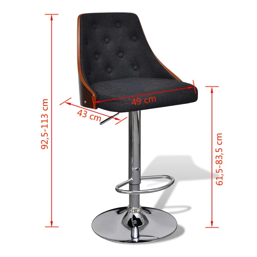 Bar Stool Height Adjustable With Backrest 2 Pcs Vidaxl