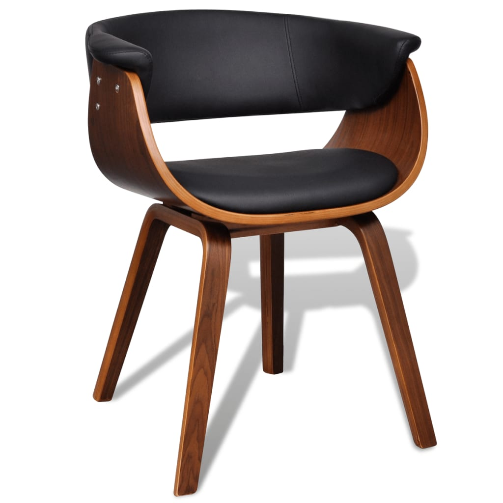 1/2/4/6pc Modern Artificial Leather Bent Wood Dining Chair Black Seat Kitchen