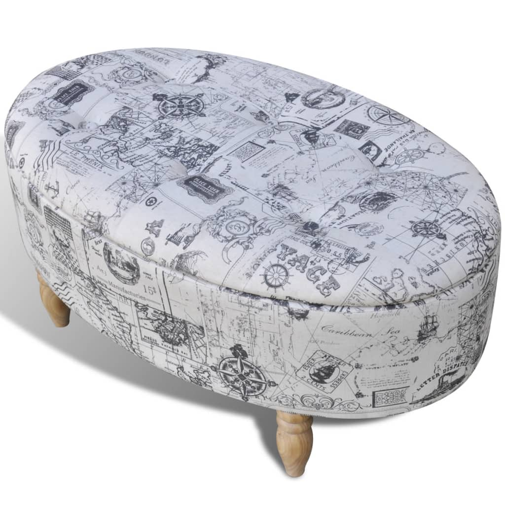 stool footrest ottoman storage seat patterned oval 99 x 60 x 47 cm. Black Bedroom Furniture Sets. Home Design Ideas
