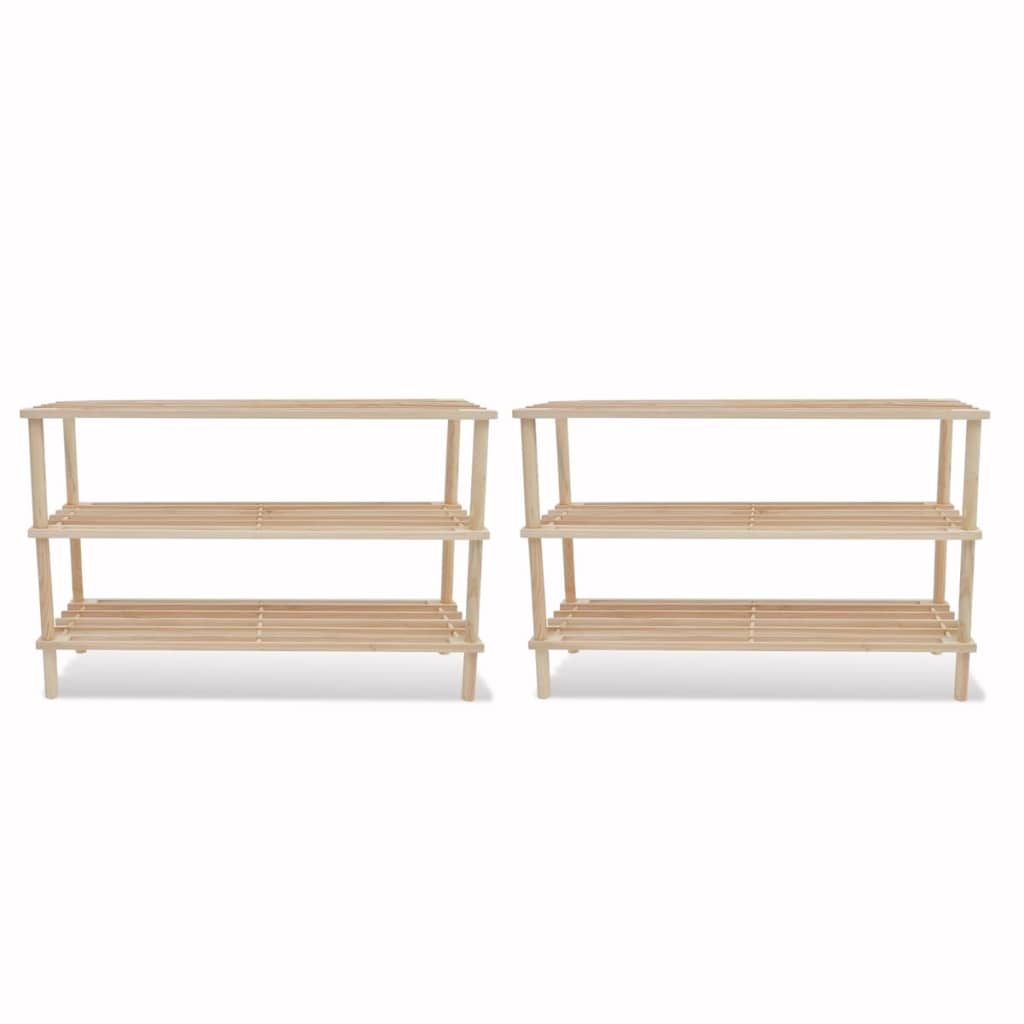 wooden shoe rack 3 tier shoe shelf storage 2 pcs. Black Bedroom Furniture Sets. Home Design Ideas