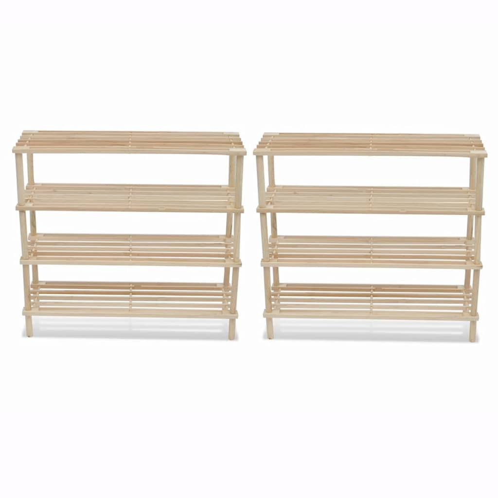 Wooden Shoe Rack 4 Tier Shoe Shelf Storage 2 Pcs