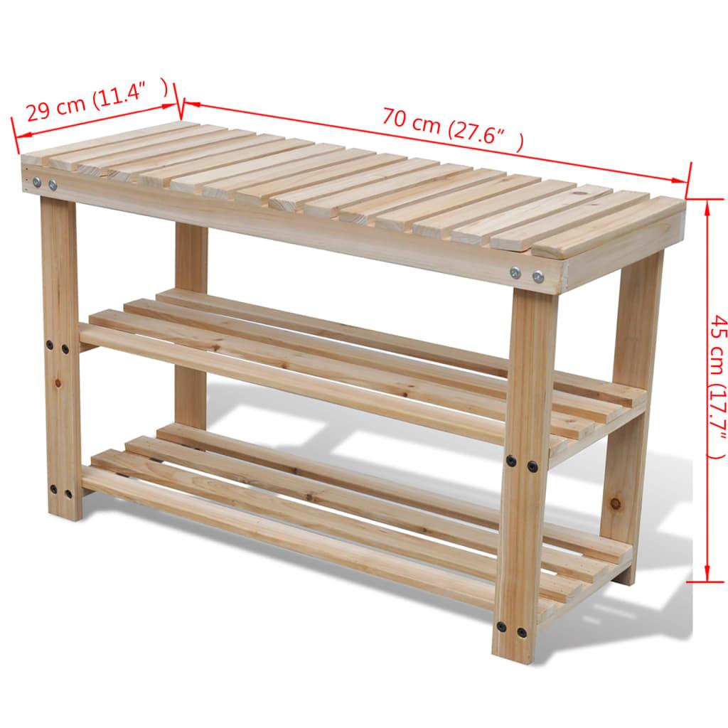 Zapatero duradero de madera 2 en 1 con superior de banco for Banco zapatero madera