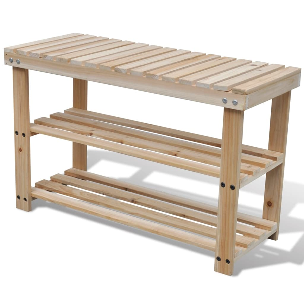 2 In 1 Wooden Shoe Rack With Bench Top Durable