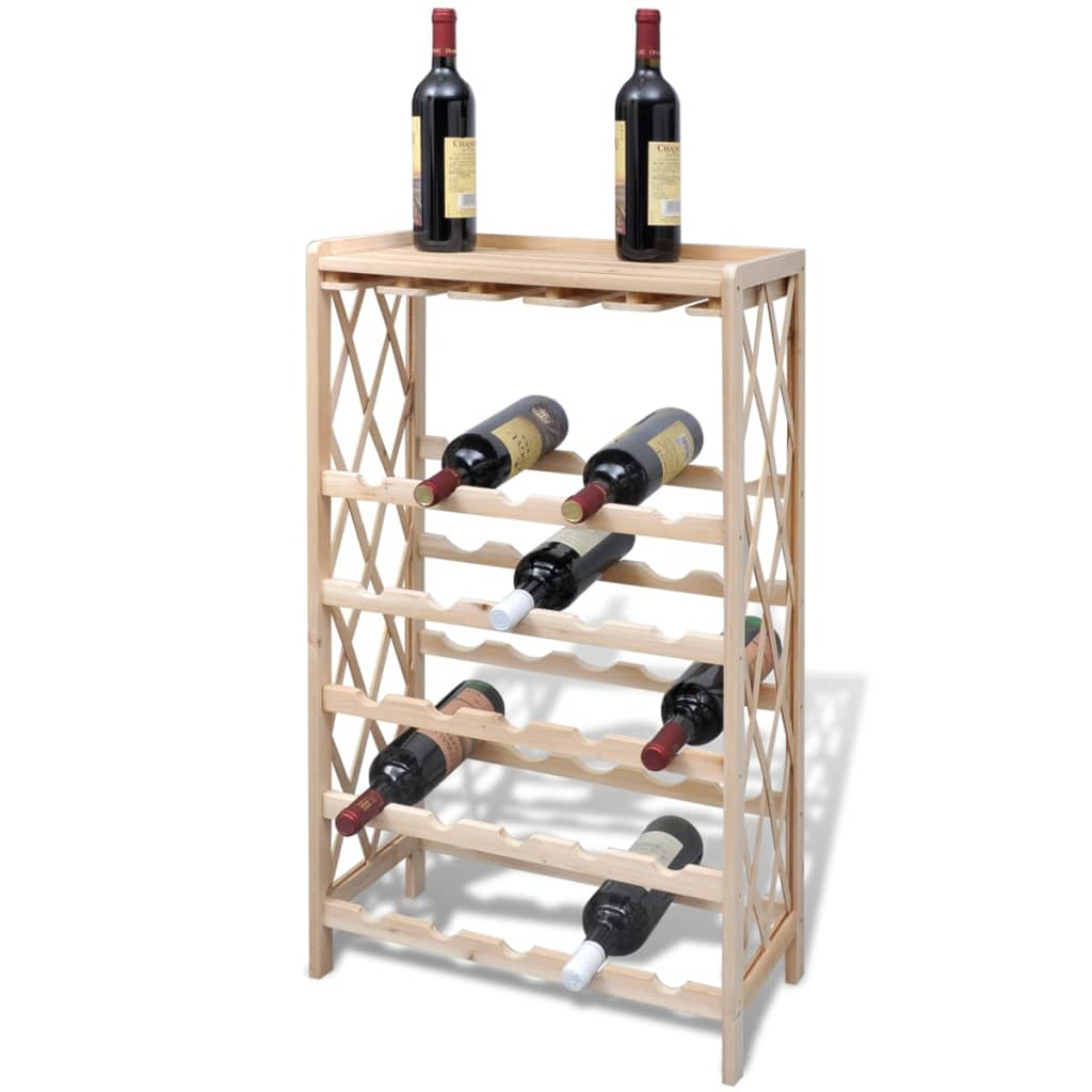 wood wine rack wine shelf storage for 25 bottles vidaxl. Black Bedroom Furniture Sets. Home Design Ideas