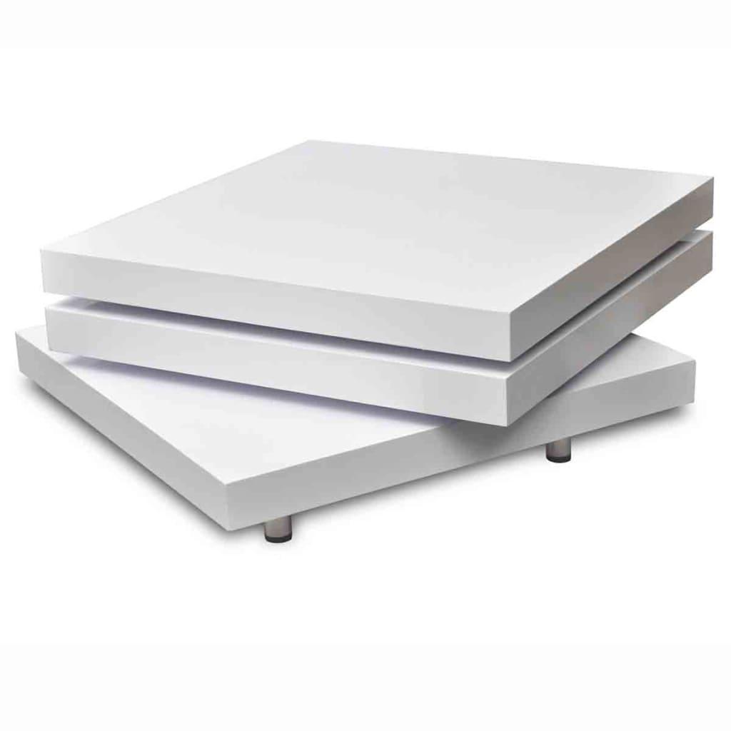 Acheter table basse blanc laqu carr e pivotante 3 - Table basse carree blanc ...