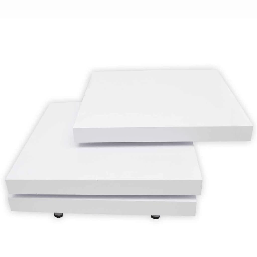Acheter table basse blanc laqu carr e pivotante 3 plateaux pas cher for Table basse carre laque blanc