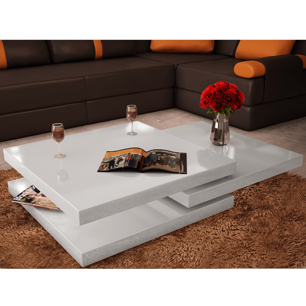 acheter table basse blanc laqu carr e pivotante 3 plateaux pas cher. Black Bedroom Furniture Sets. Home Design Ideas