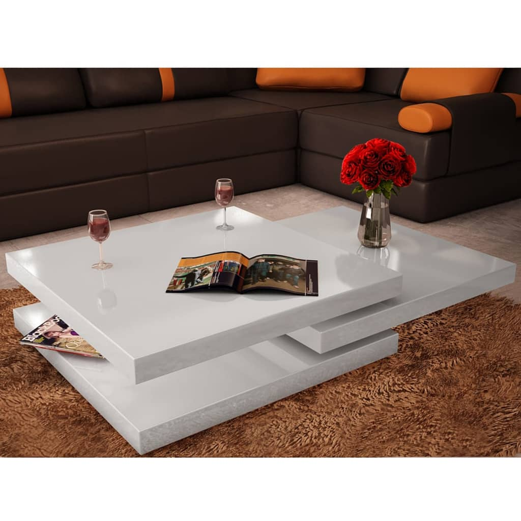 New Coffee Table 3 Layers High Gloss Contemporary Furniture Square White Black Ebay