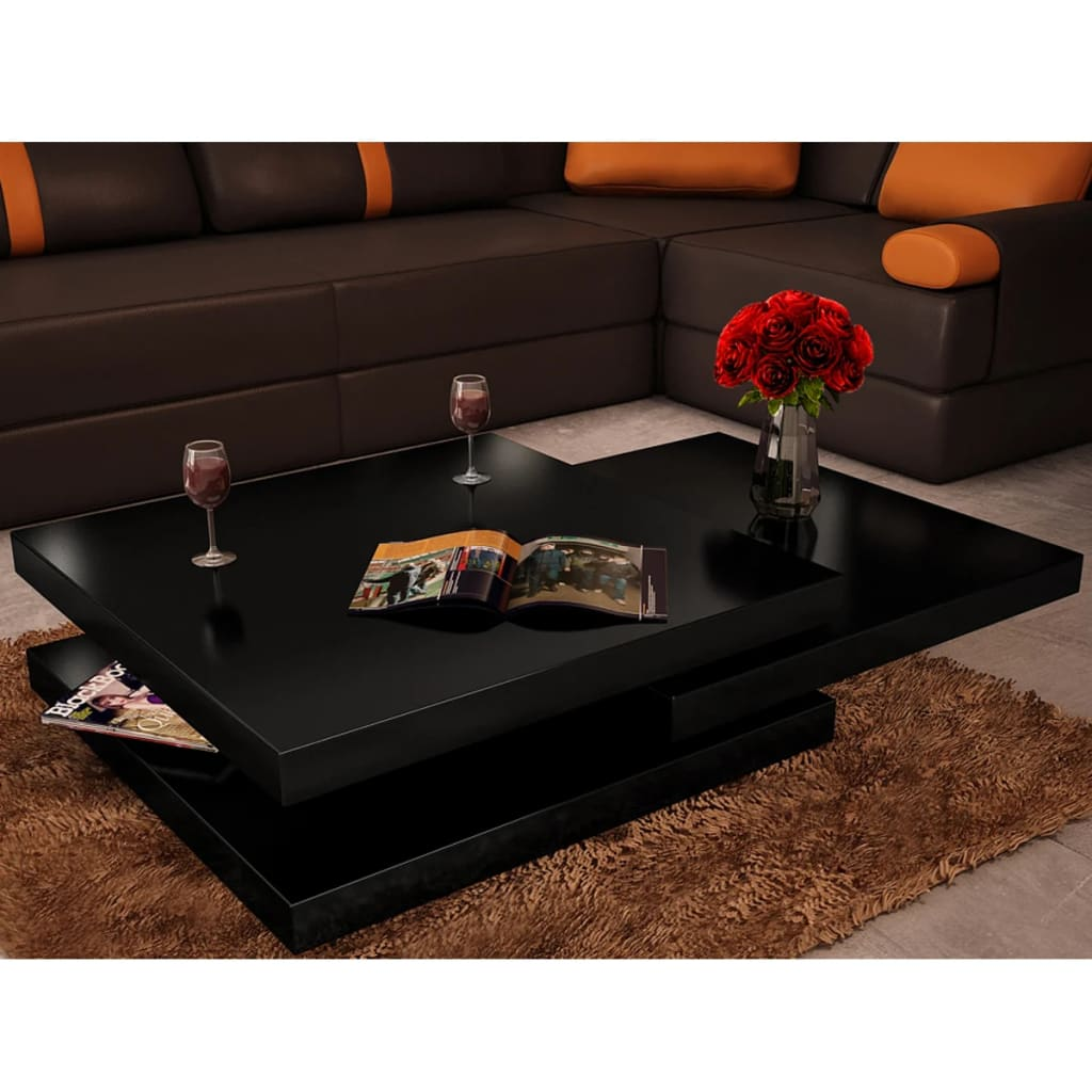 acheter table basse noir laqu carr e pivotante 3 plateaux pas cher. Black Bedroom Furniture Sets. Home Design Ideas
