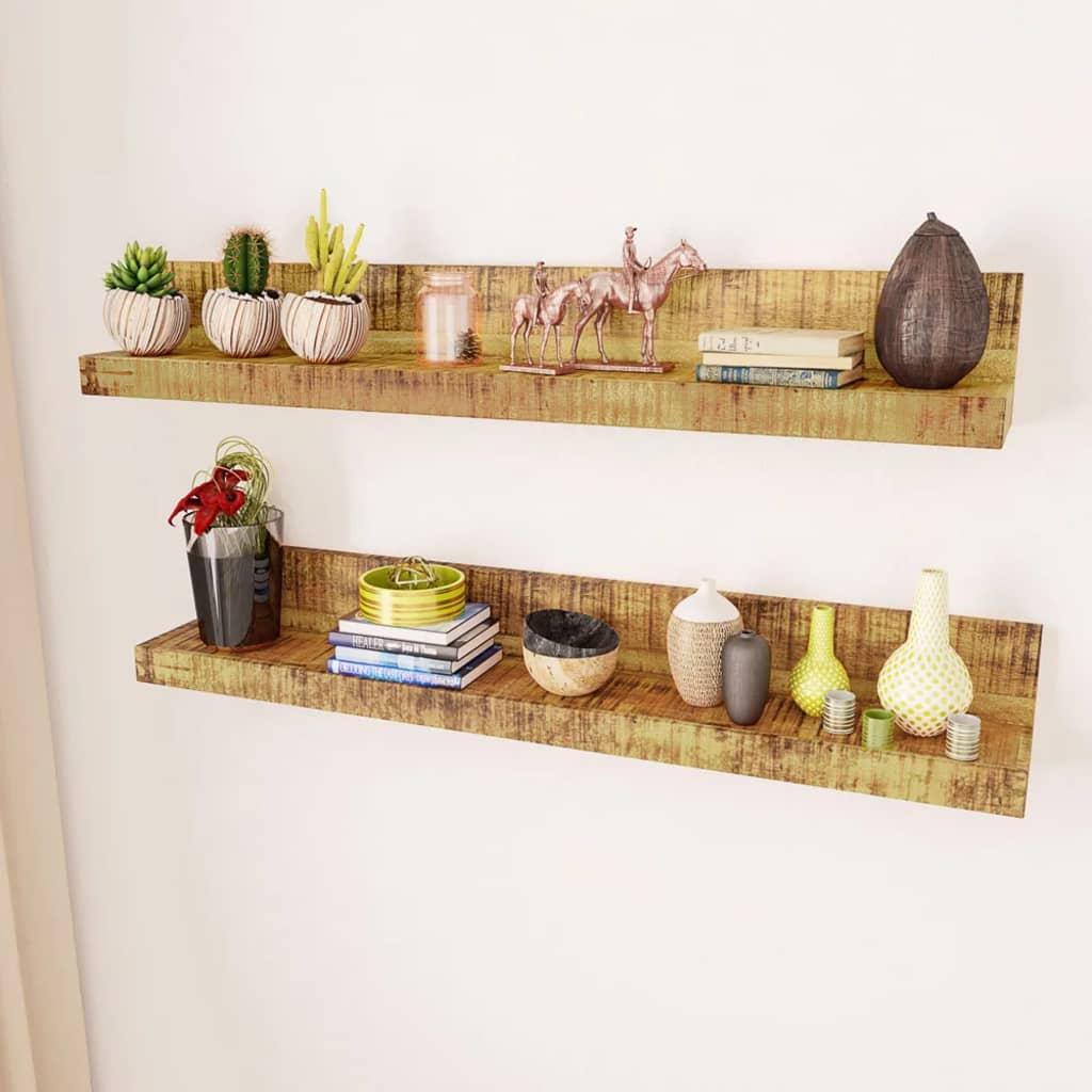 2 estantes de pared de madera maciza - Estantes de madera para pared ...