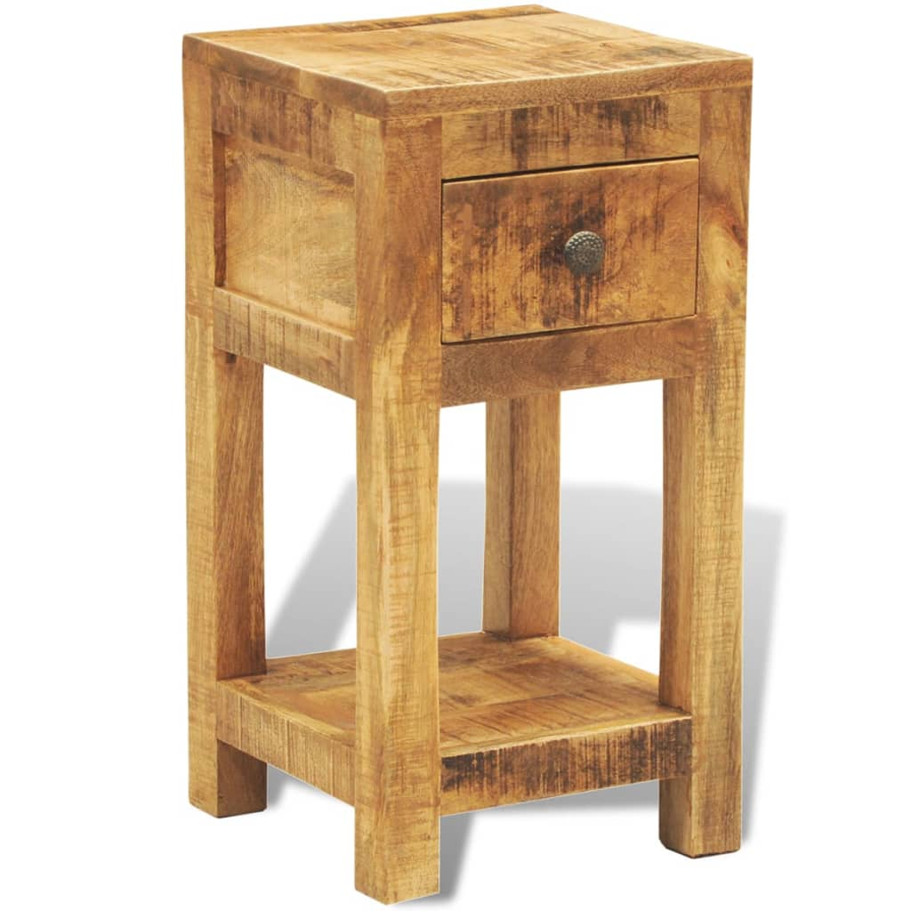Solid wood display side table nightstand for Wood nightstand with drawers