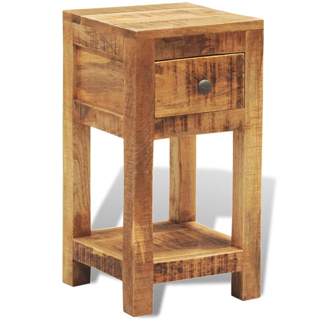 Mesita auxiliar mesita de noche de madera maciza con un for Mesitas de madera