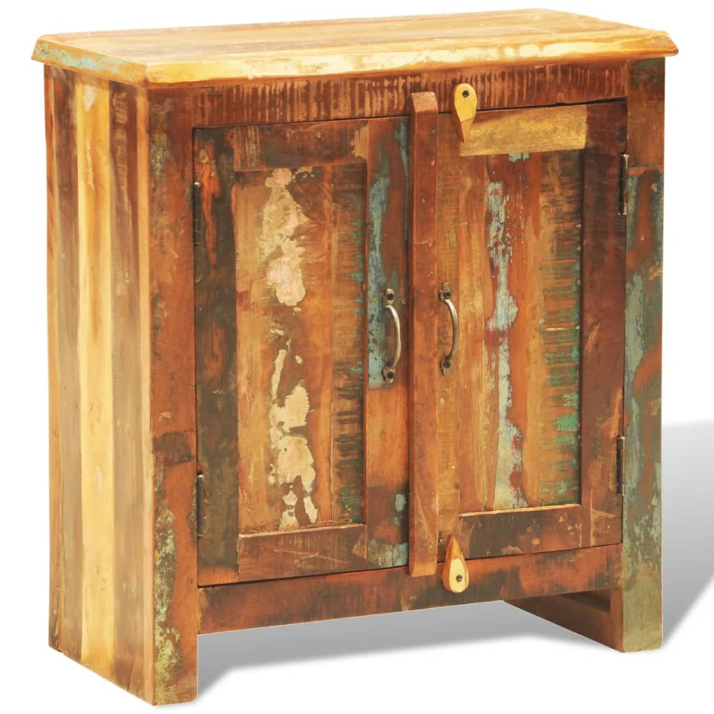 Reclaimed wood cabinet with two doors vintage antique for Muebles de madera reciclada