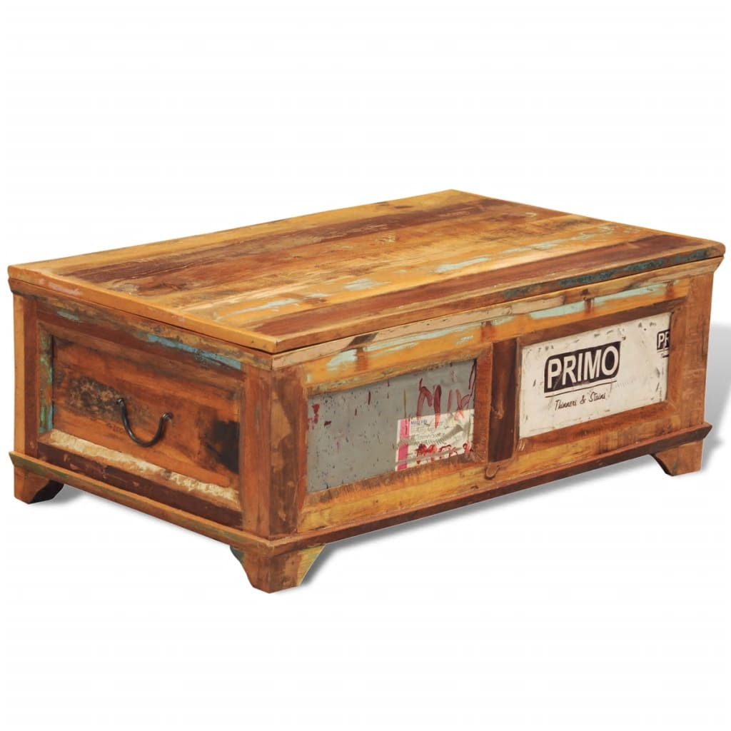 reclaimed wood storage box coffee table vintage antique style. Black Bedroom Furniture Sets. Home Design Ideas