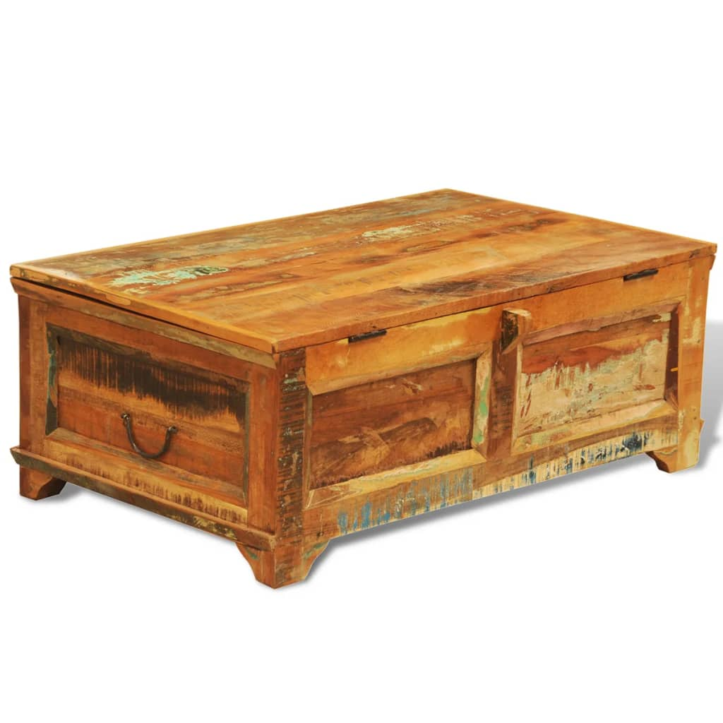Reclaimed wood storage box coffee table vintage antique for Wood coffee table kits