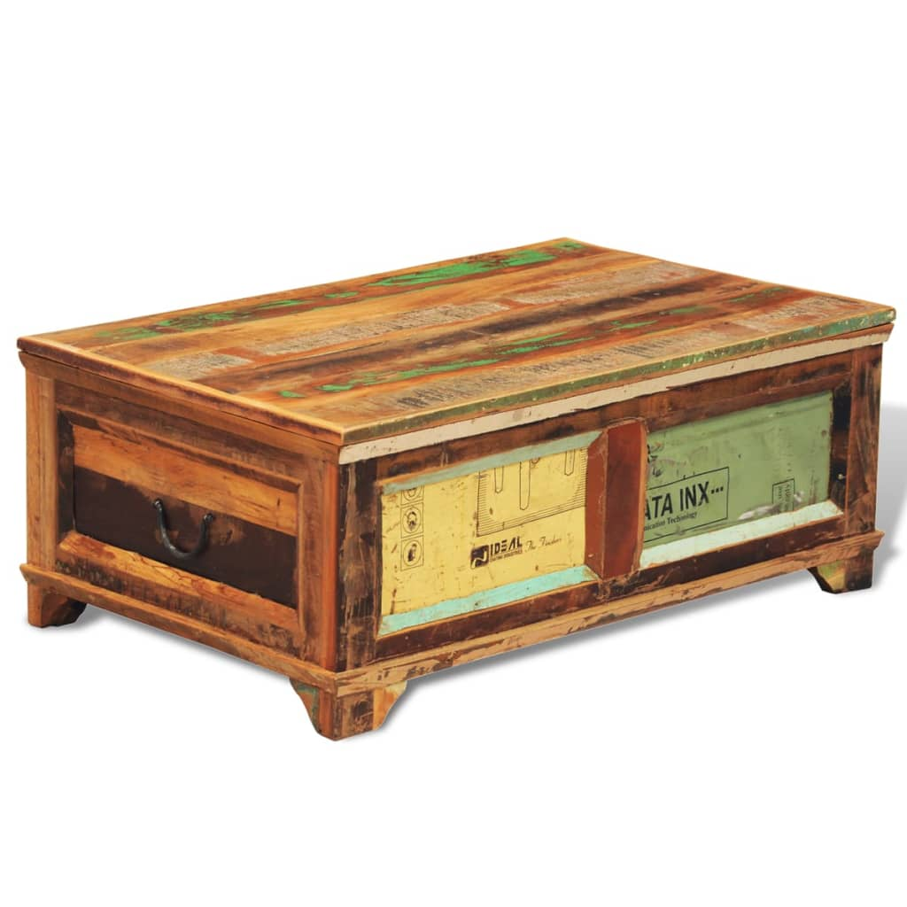 Large solid wooden chest trunk storage box coffee table for Large wooden coffee tables