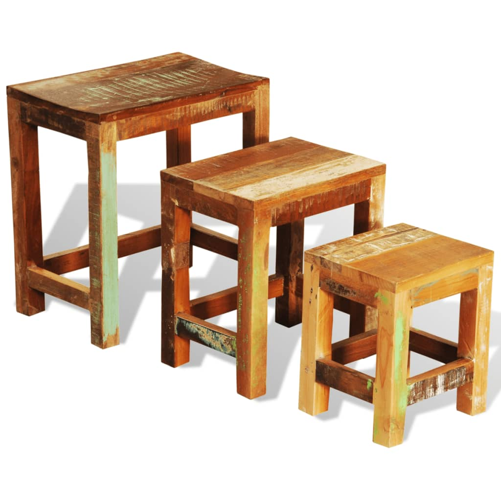 Antique Wood Nesting Tables Set Of 3 ~ Reclaimed wood set of nesting tables vintage antique