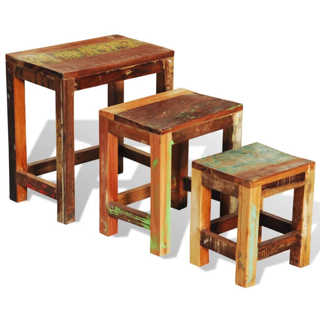 Wood Stacking Tables ~ Reclaimed wood set of nesting tables vintage antique