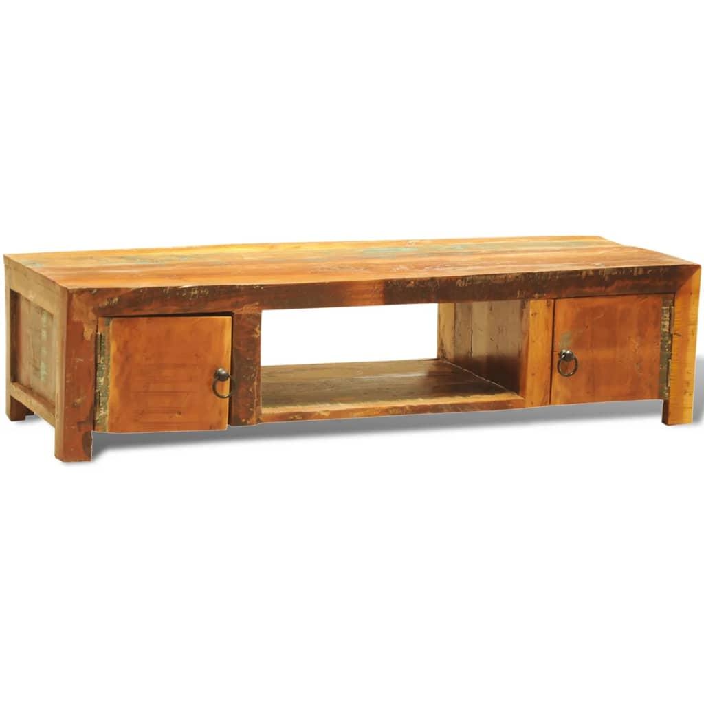 Mueble de tv madera reciclada dos puertas estilo vintage for Puertas de madera reciclada