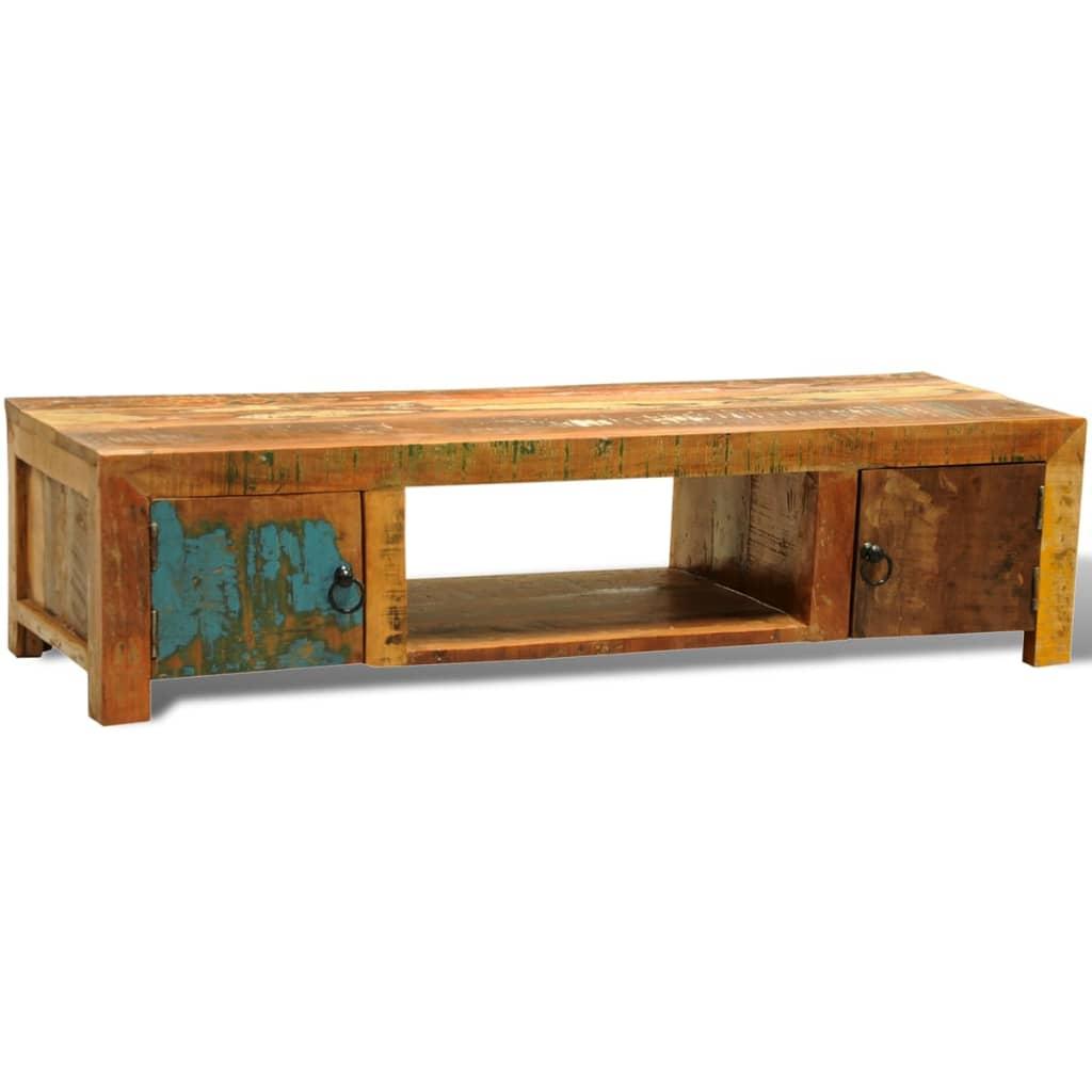 Mueble de tv madera reciclada dos puertas estilo vintage for Puertas con madera reciclada