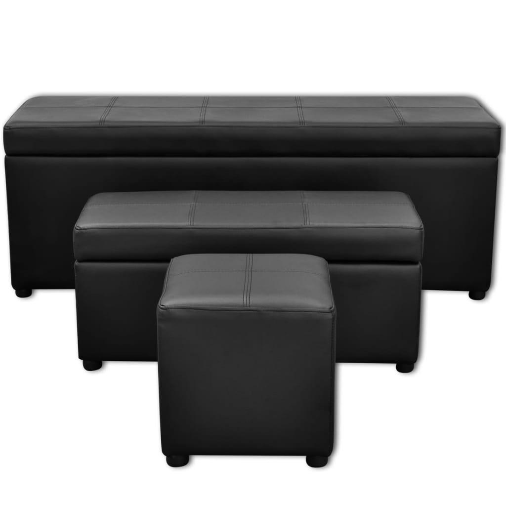 acheter set de banc de rangement en simili cuir noir pas cher. Black Bedroom Furniture Sets. Home Design Ideas