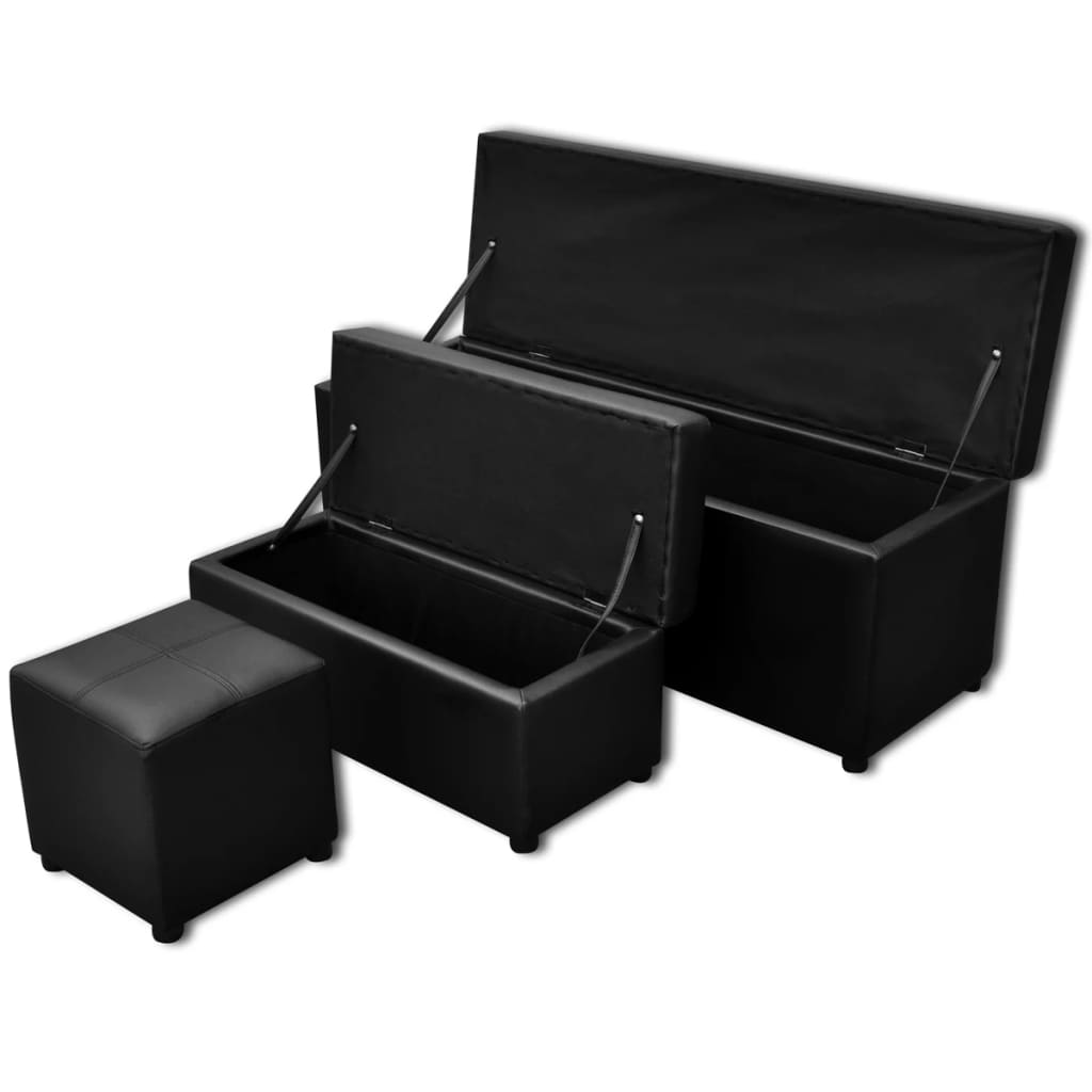 acheter set de banc de rangement en simili cuir noir pas cher. Black Bedroom Furniture Sets. Home Design Ideas