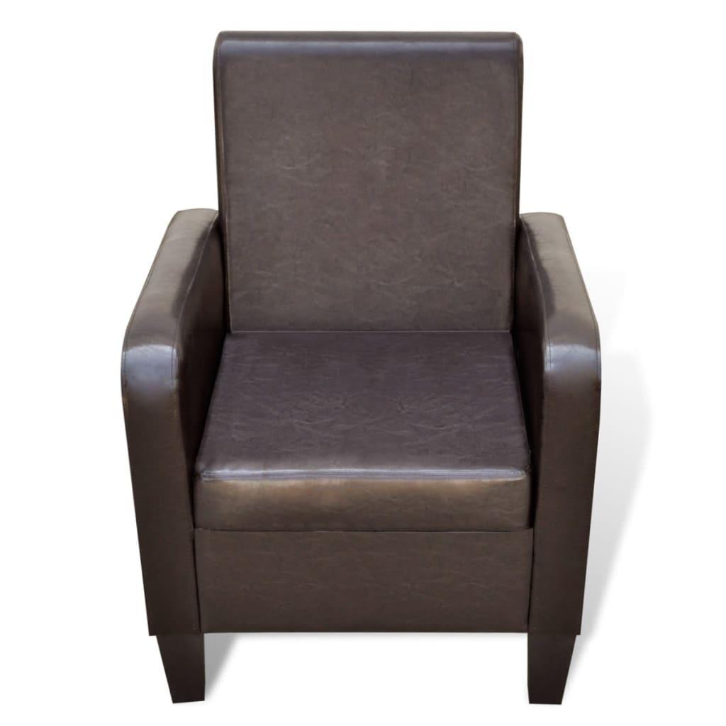 Moderne fauteuil van kunstleer bruin - Moderne fauteuil ...