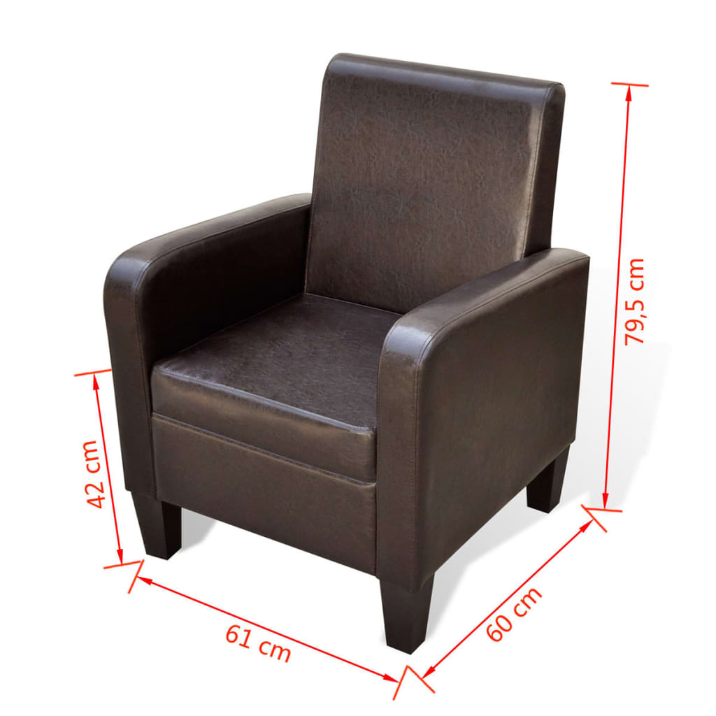 Acheter fauteuil rembourr en cuir synth tique marron pas for Acheter fauteuil