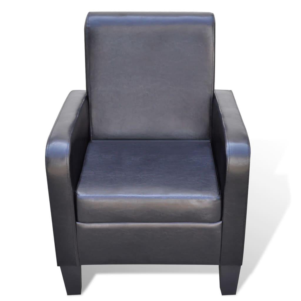 Moderne fauteuil van kunstleer zwart - Moderne fauteuil ...