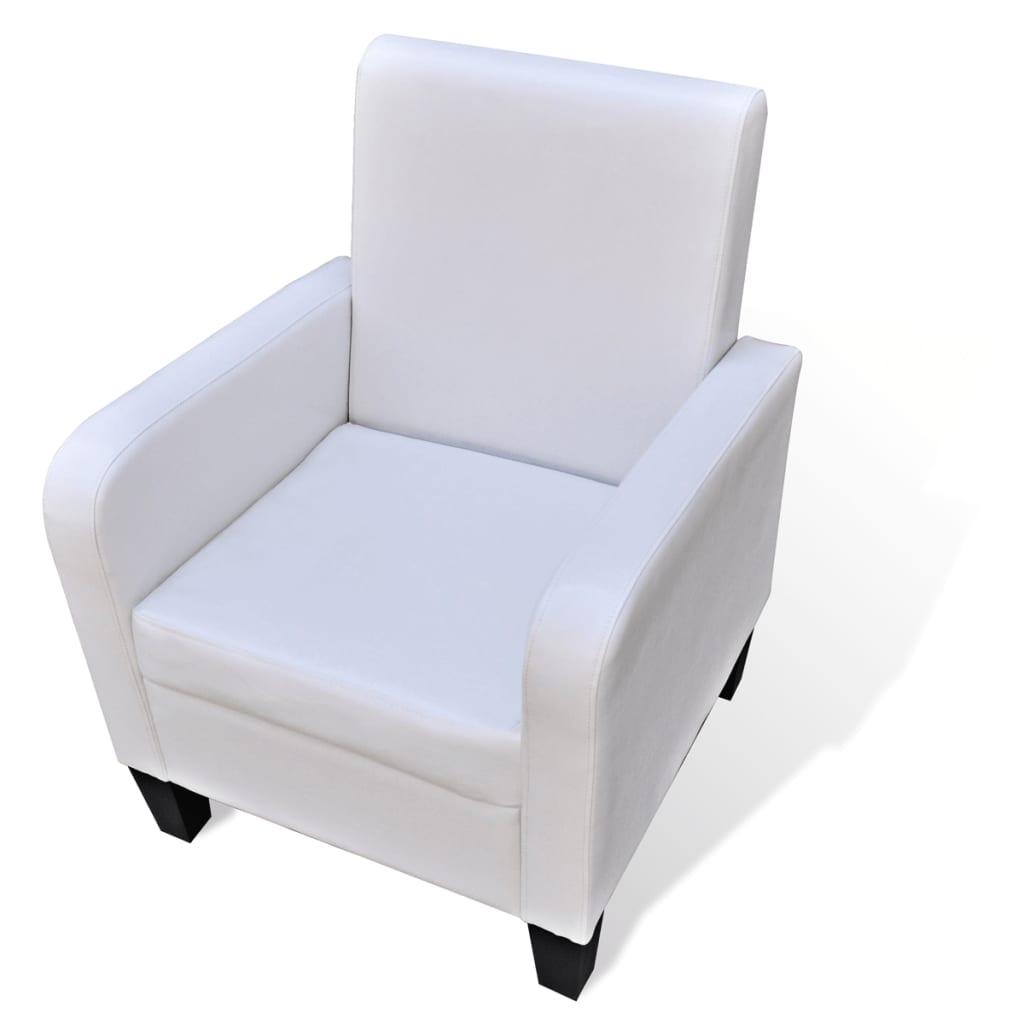 vidaXL Fotel ze skóry syntetycznej, biały