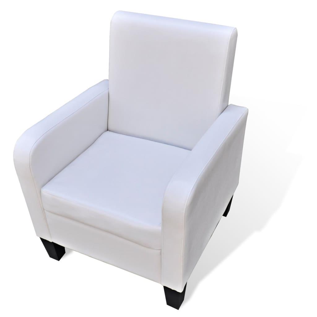 acheter fauteuil rembourr en cuir synth tique blanc pas. Black Bedroom Furniture Sets. Home Design Ideas