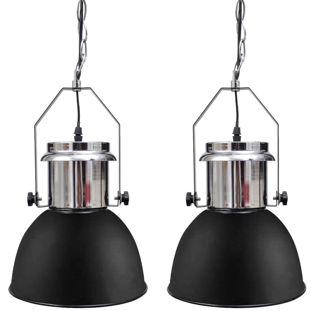 vidaXL Modern Fekete Fém Mennyezeti Lámpa 2 db