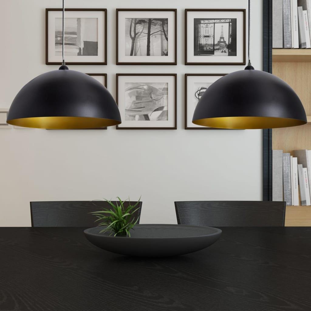 vidaXL-2x-Lampada-da-Soffitto-Semisfera-Metallo-Nero-Luce-Pendente-Lampadario