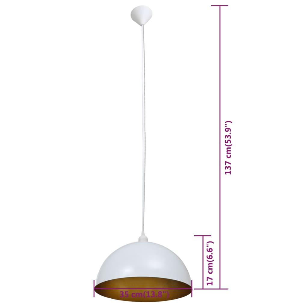 vidaXL-2x-Lampada-Soffitto-Semisferica-Regolabile-in-Metallo-Bianco-Lampadario